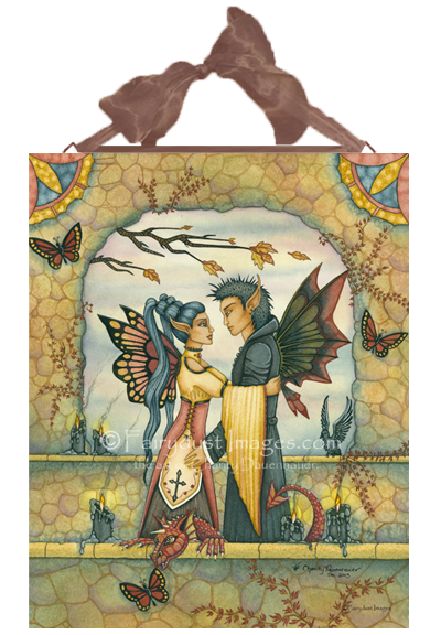 Autumn's Goodbye - Fairy Couple Ceramic Tile Plaque