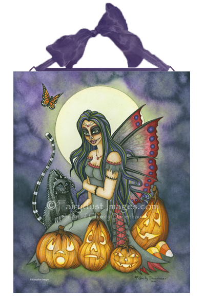 Fright Night - Spooky Fairy Ceramic Tile Plaque