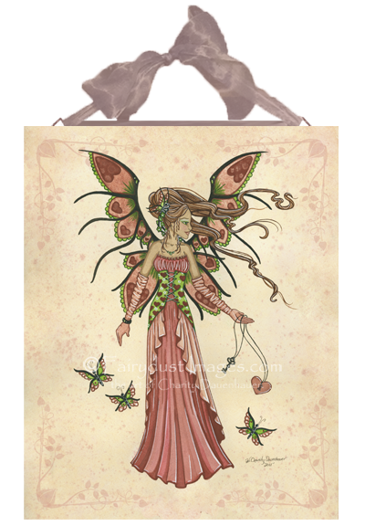 Keeper of Hearts - Valentine's Day Fairy Ceramic Tile Plaque