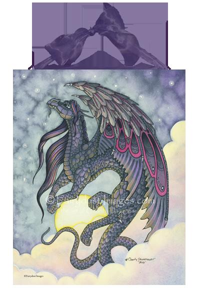 Midnight - Black Dragon Ceramic Tile Plaque