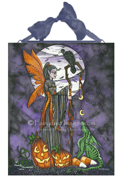 Moonlit Magic - Halloween Fairy Ceramic Tile Plaque