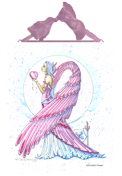 Pink Warrior - Breast Cancer Angel Ceramic Tile Plaque