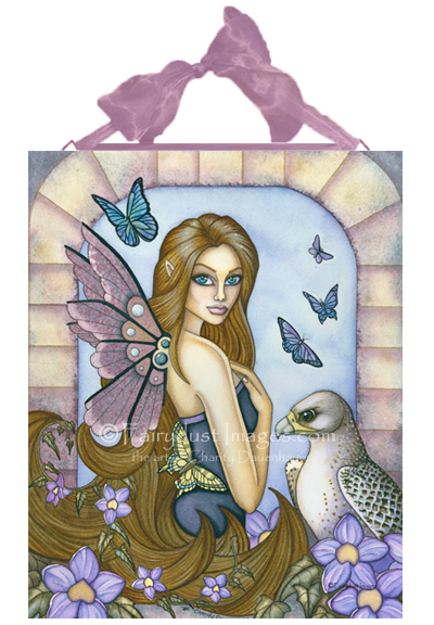 Rayna - Fairy and Falcon Ceramic Tile Plaque