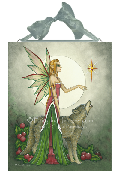 Silent Night - Christmas Fairy and Wolf Ceramic Tile Plaque