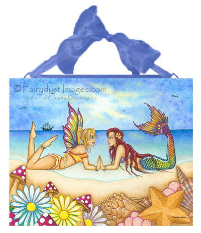 Summertime Beauties - Fairy & Mermaid Ceramic Tile Plaque
