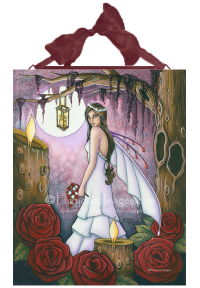 Bride of Red Roses - Fairy Ceramic Tile Plaque