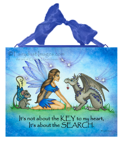 The Not so Hidden Key - Fairy and Dragon Ceramic Tile Plaque