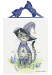 Switch - Cat in a Witches Hat Ceramic Art Tile