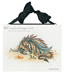 Unusual Friends - A Dragon and Mice Ceramic Art Tile
