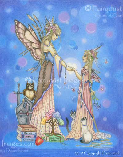 A Mother's Gift - Mom and Daughter Fairy Art Print