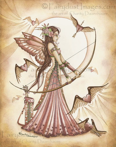 Aiming for Love II, Valentine's Day Fairy Art Print