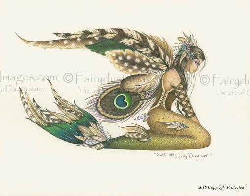 Feathered Fin, Mermaid Art Print