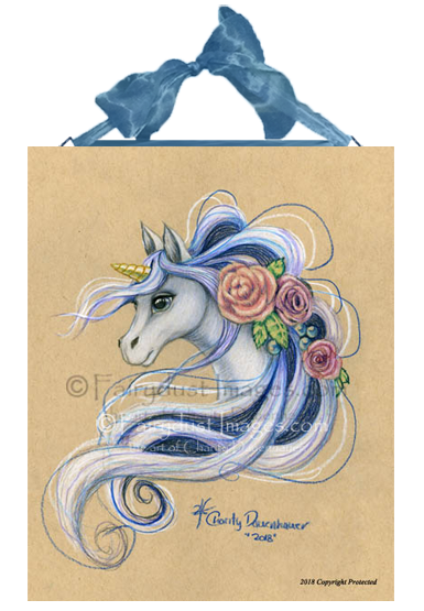Flowered Unicorn - Ceramic Art Tile Plaque