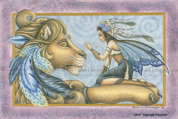 Thee Encounter - Lion and Fairy Art Print