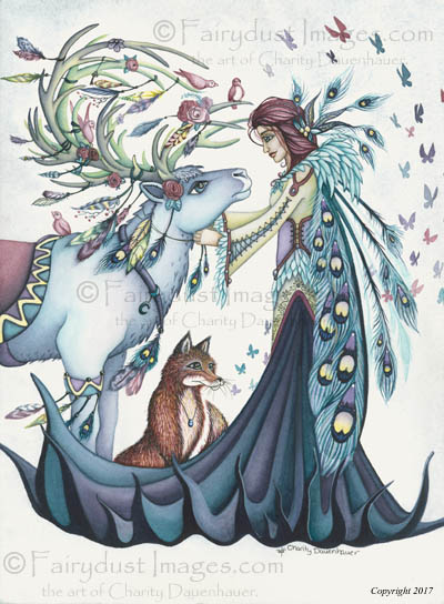 Winter's Reindeer, Peacock Fairy Art Print