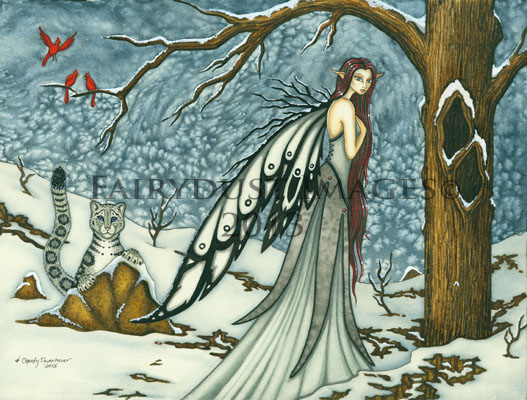 Winter Bliss - Fairy and Snow Leopard Art Print