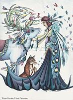 Winter's Reindeer - Peacock Fairy Art Print