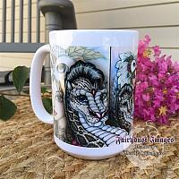 Winter's Snow Queen - Fairy and Leopard Dragon Coffee Mug