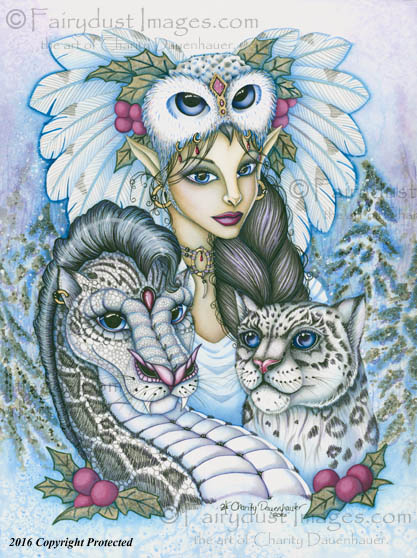 Winter's Snow Queen - Leopard Dragon and Fairy Art Print