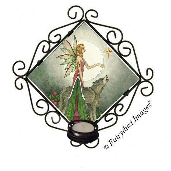Silent Night - Fairy and Wolf Candle Sconce