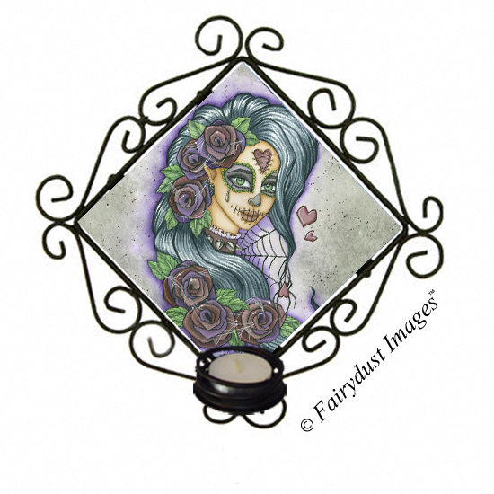 Spider Bite - Sugar Skull Candle Sconce