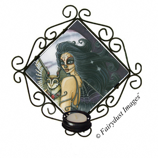The Night Keeper - Day of the Dead Fairy Candle Sconce
