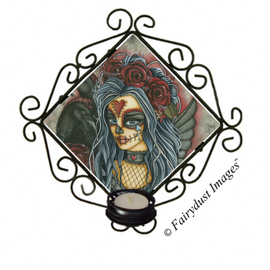 Wild Heart - Sugar Skull Candle Sconce