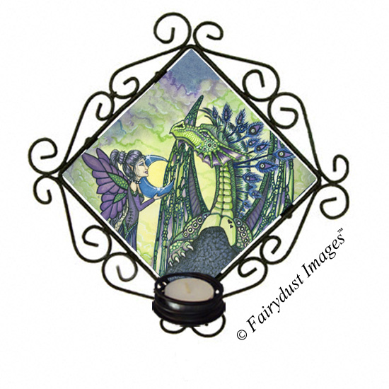 Enchantment - Dragon and Fairy Candle Sconce